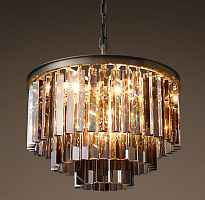 Подвесной светильник RH 1920s Odeon Smoke Glass Fringe Chandelier - 3 rings Loft Concept 40.304