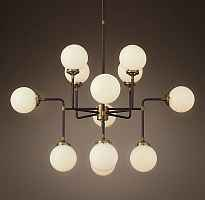 Люстра RH Bistro Globe Milk Glass 12-Light Chandelier Loft Concept 40.1541